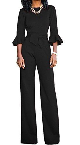 Corala Molisry Women Solid Long Sleeve Wide Leg Long Jumpsuits Romper Pants With Belt