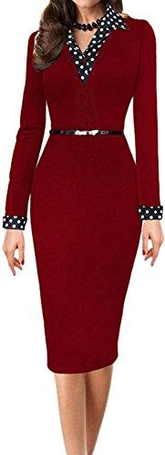 LUNAJANY Women's Black Polka Dot Long Sleeve Wear to Work Office Pencil Dress