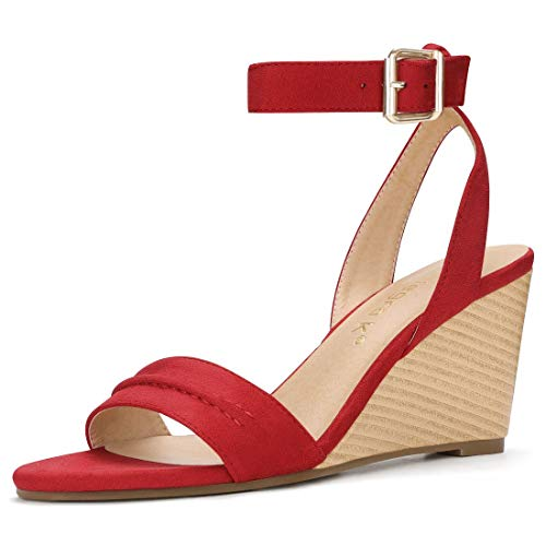 Allegra K Women's Cutout Tie-up Wedge Sandals