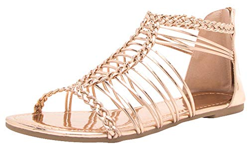 Cambridge Select Women's Woven Braided Strappy Caged Cutout Flat Sandal
