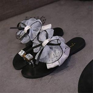 New Sandals New Summer Satin Flower Bow Tie Fashion Peep Toe Shoes Woman String Bead Flats