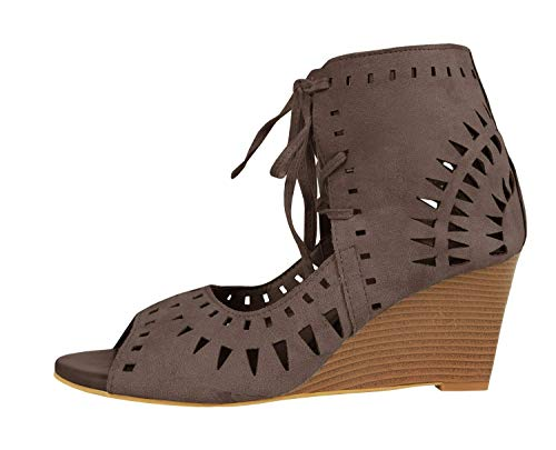 Syktkmx Womens Cutout Lace up Wedges Peep Toe Heeled Ankle Wrap Suede Bootie Sandals