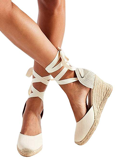 Syktkmx Womens Lace Up Platform Wedge Espadrille Heel Closed Toe Slingback D'Orsay Sandals