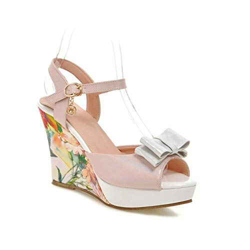 Women's Peep Toe Floral Platform Sandals Anti-Slip Chunky High Heel Bowtie Summer Dress Wedge Sandals