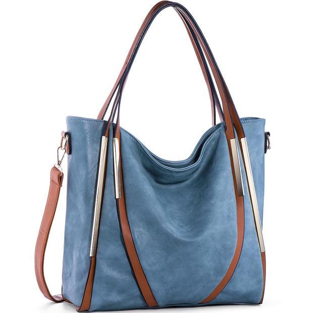 Blue Women Handbags Shoulder Tote PU Leather Top Handle Purses Pierrebuy