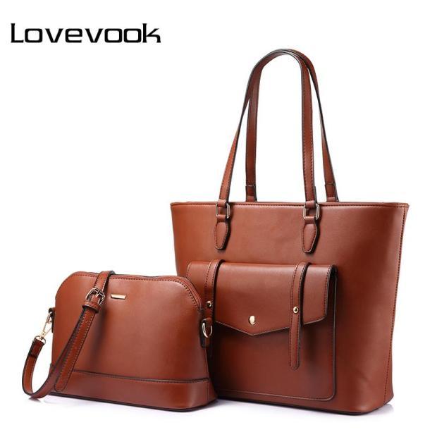Brown Business Women Handbags Shoulder Tote PU Leather Top Handle Purses Pierrebuy