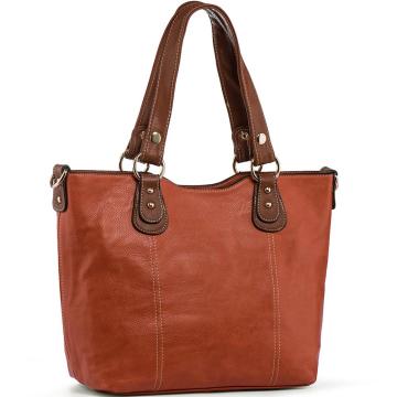 Brown Women Handbags Shoulder Tote PU Leather Top Handle Purses
