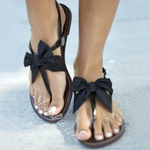 Satin Bowtie Flat Sandals