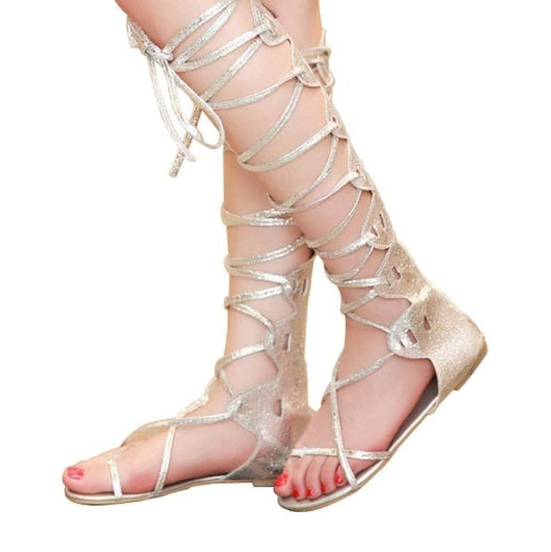 Kattee Women's Comfy Lace Up Flat Knee High Gladiator Sandals Gold Color