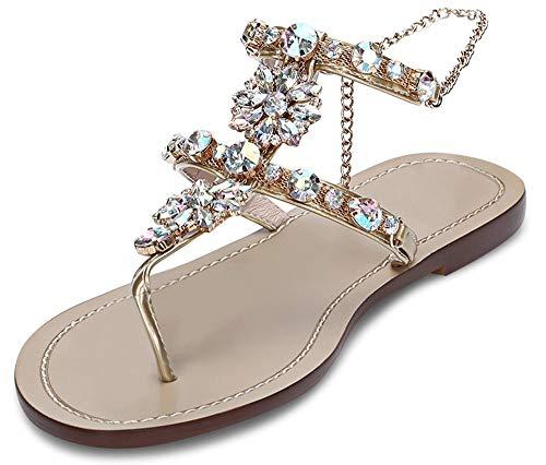 Women's Wedding Sandals Crystal with Rhinestone Beaded Bohemian Dress Flip-Flop Gladiator Shoes